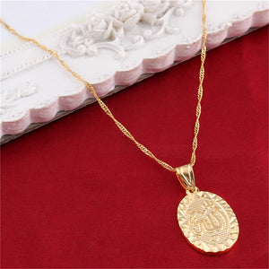 Islamic Jewelry Allah Necklace Women Gold Color Vintage Design Muslim Medal Pendants Necklaces