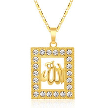 Load image into Gallery viewer, SONYA Classic Allah Muslim Necklace Men/Women Gold Color Square Cubic Zirconia Pendant Necklace Religious Muslim Jewelry Bijoux