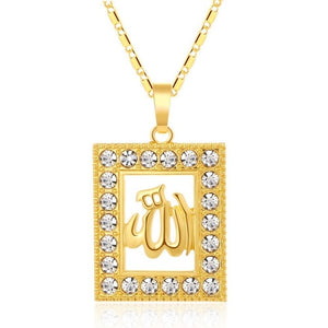 SONYA Classic Allah Muslim Necklace Men/Women Gold Color Square Cubic Zirconia Pendant Necklace Religious Muslim Jewelry Bijoux