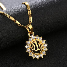 Load image into Gallery viewer, Sell Islamic Religious Allah Muslim Round pendant necklace for Gold color Middle East women Arab jewelry accessories Bijoux