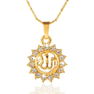 Sell Islamic Religious Allah Muslim Round pendant necklace for Gold color Middle East women Arab jewelry accessories Bijoux