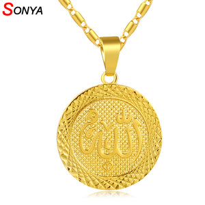 SONYA Gold Color Muslim Allah Pendant Necklace Chain For Men Middle East Arab Jewelry Women Muslim Item Islam Items