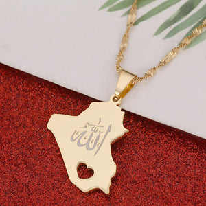 Republic Of Iraq Map Pendant Necklace Gold Color Allah Name Pendant Allah Heart Jewelry