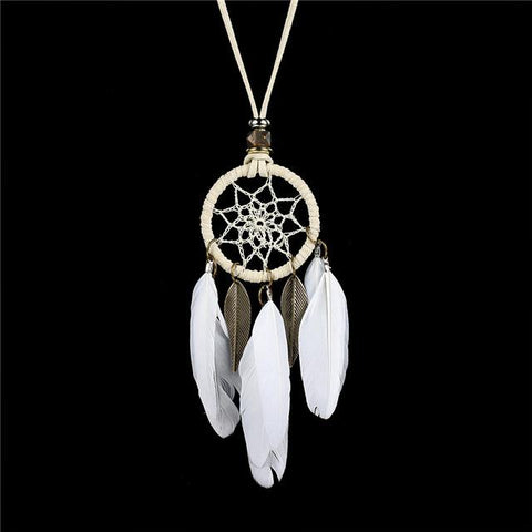 Collier Attrape Rêve  Plumes Blanches