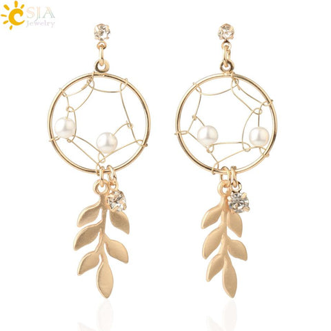 CSJA Korean Dream Catcher Long Stud Earrings Matted Gold Color Metal Earrings Simulated Pearl Leaf Tassel Elegant Ear Clip S706