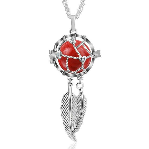EUDORA 18mm Dreamcatcher Feather Necklace Baby Pregnancy bola Cage fit 18MM Chime Ball & 45 inch Chain for Pregnant Women Gift