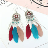 ZOSHI 2020 Long Tassel Fashion Feather Style Ethnic Boho Big Dangle Statement Earring Wedding Earrings Accessories Wholesale