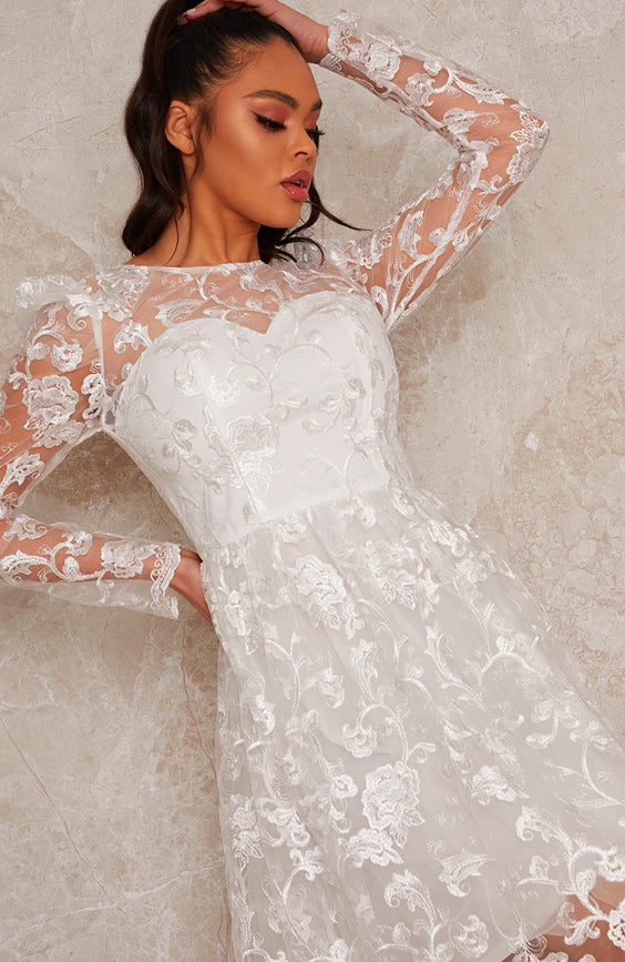 Long Sleeve Floral Embroidered Skater Dress in White