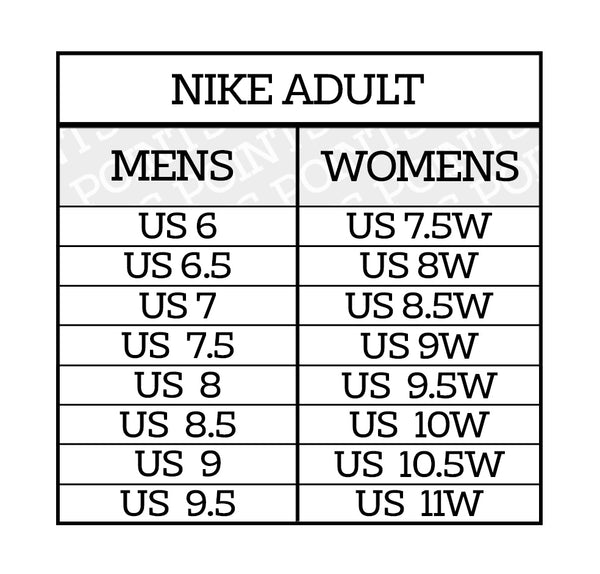 Nike ADULT Shoe Sneaker Size Guide US