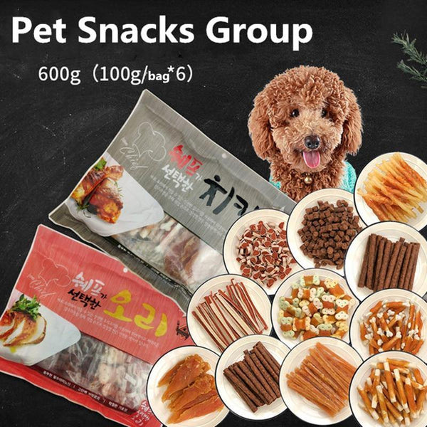 6 Bags of Pet Snacks - Package Total 600 g with Chicken and Beef - Molar Training - Rewards Food - FastAndSafeStoreFastAndSafeStore