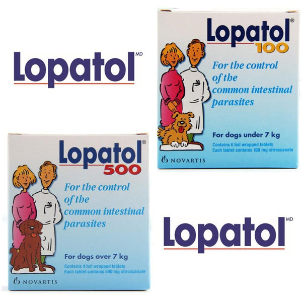 LOPATOL 100/500: Box of 4/6 tablets Oral Wormer Tablet Tapeworm Roundworm Worms Dogs - FastAndSafeStoreFastAndSafeStore