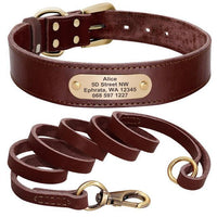 Personalized Dog Collar And Leash Set - Real Leather Pet Collars Dogs Walking K9 XXS-XL - FastAndSafeStoreFastAndSafeStore