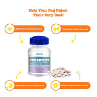 Probiotics for Dogs - with Natural Digestive Enzymes + Prebiotics - Stomach Relief + Gas & Constipation 180 Counts - FastAndSafeStoreFastAndSafeStore