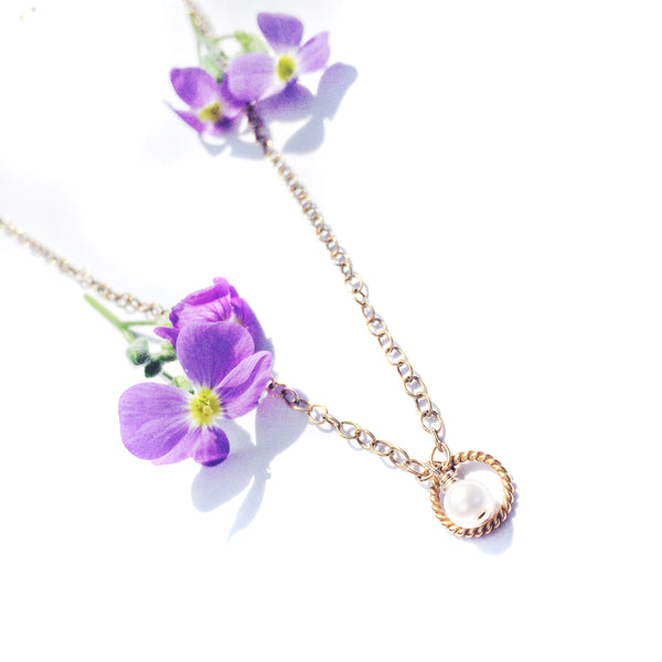 gold chain, gold cable pendant & pearl pendant with summer flower
