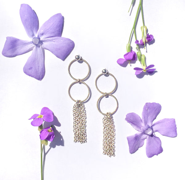 silver hoops and tassel earrings with summer flowers