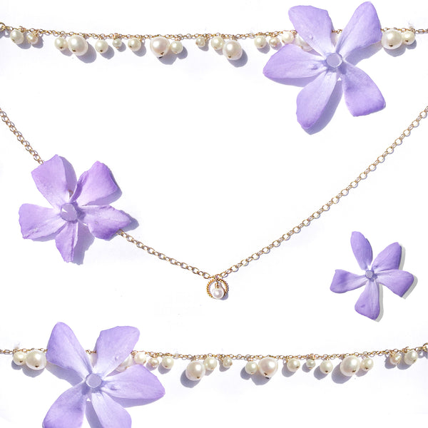 luxury jewellery with summer flowers