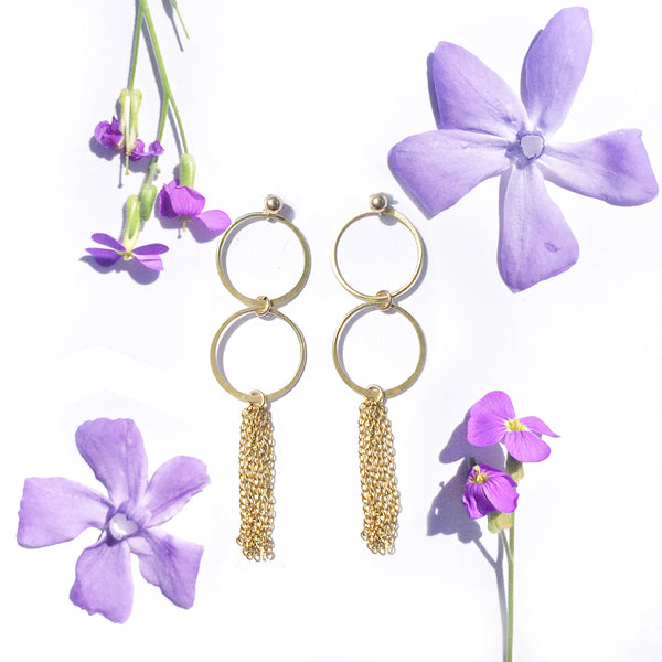 Gold hoops & gold tassel earrings with summer flowers
