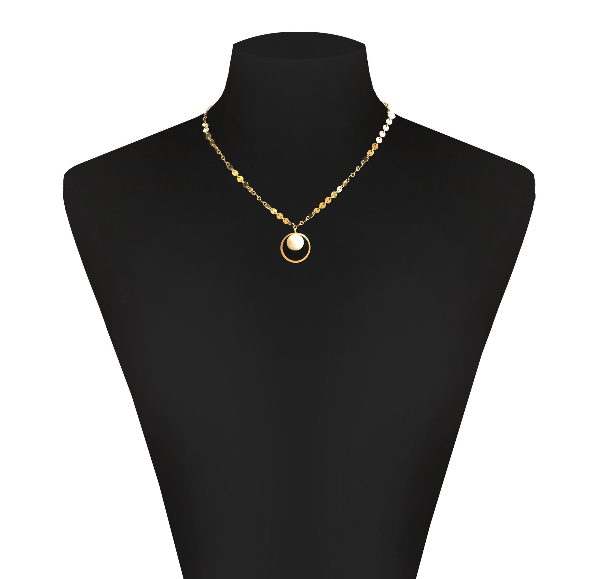 Fine jewellery gold disc necklace pearl pendant storey by fine jewellery gold sequin necklace and large pearl pendant mozeypictures Images