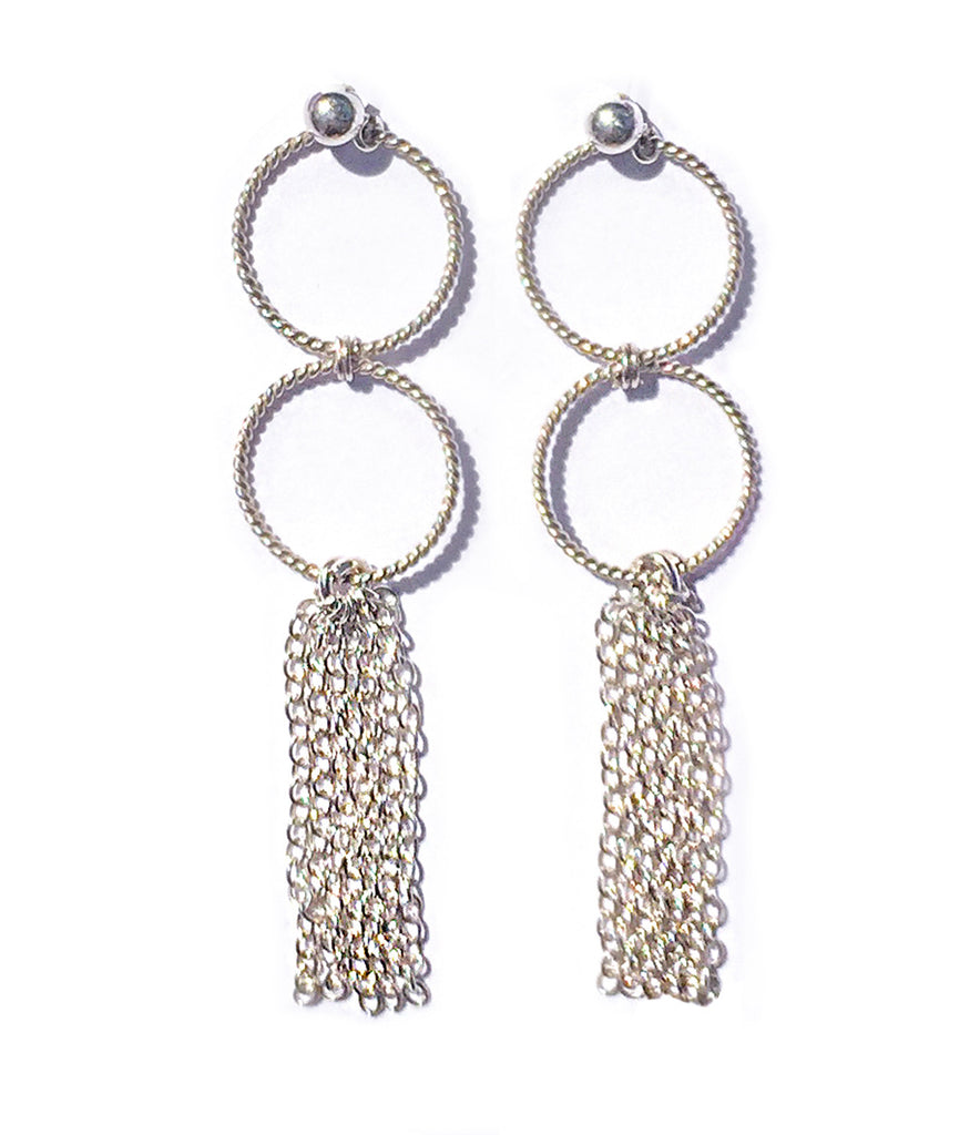 Fine jewellery: sterling silver hoops & silver tassel earrings