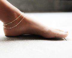 Sterling silver layered anklet