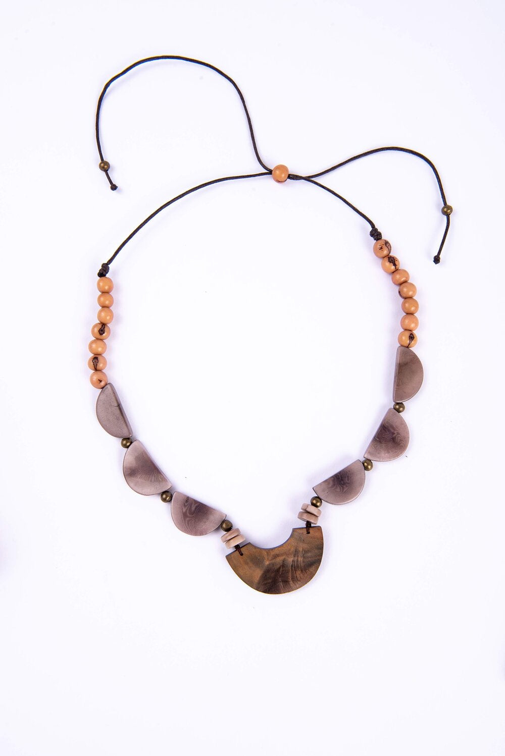 Astonishing necklace made with various stones and seeds with adjustable waxed cotton cord