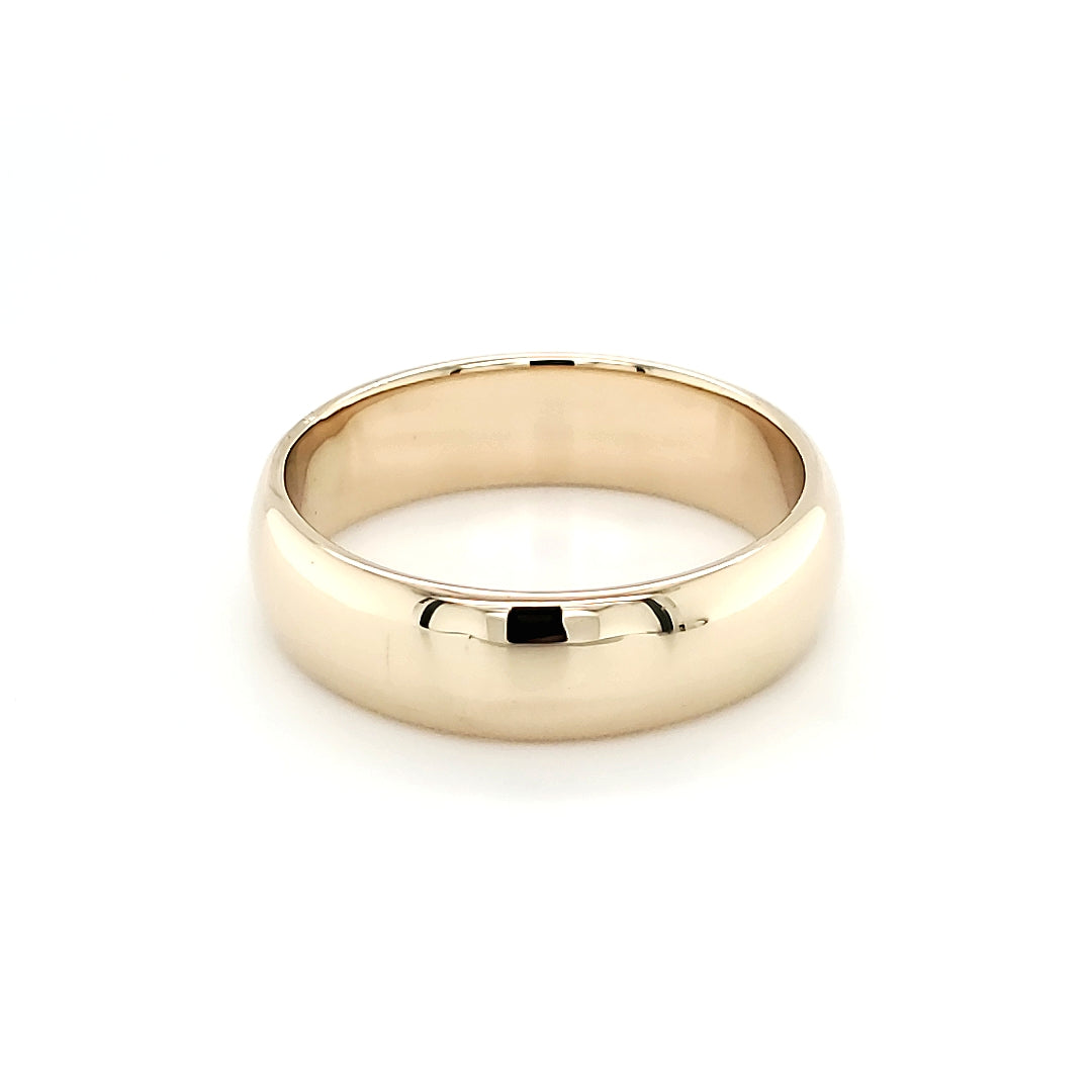 Plain Half Round Yellow Gold Band (6.5mm)
