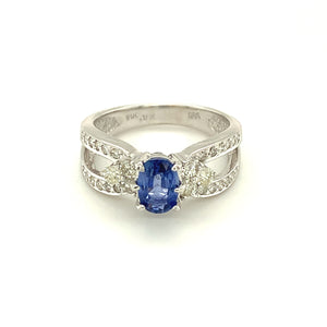 14K White Gold Ring w/ Oval Cut Tanzanite & .70 Carats in Round Diamonds