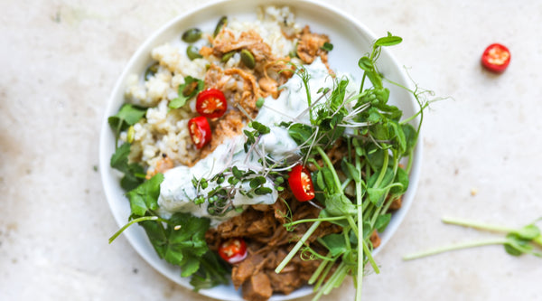 Jackfruit Curry with Vegan Tzatziki