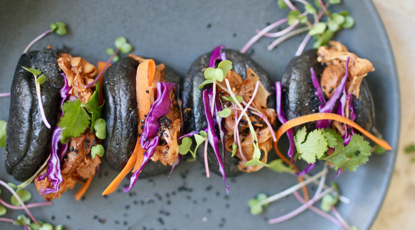 Charcoal Bao Buns with Pulled Jackfruit