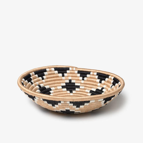 Unique hand woven basket made in Rwanda with black diamond pattern. This is apart of the Akaneri basket design.