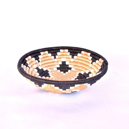 Akaneri Woven Basket-Baskets-Azizi Life-Black diamonds with Black Border-Small-Jabulani Creations