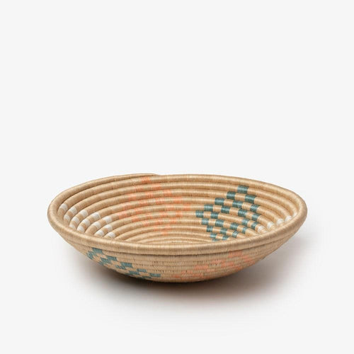 Bariku Woven Basket-Baskets-Azizi Life-Light Orange & Teal-Medium-Jabulani Creations