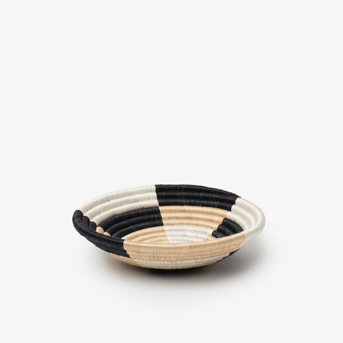 Staccato Woven Basket-Baskets-Azizi Life-Small-Black, White & Tea-Jabulani Creations