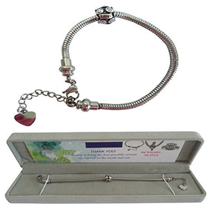 316L Stainless Steel European Style Charm Bracelet Chain with Gift Box - High Quality Master Starter Bracelet - 6.5 inches - Compatible Fits Pandora Beads - Perfect Present for Birthday Christmas Mother Day Anniversary Holiday - Best Gift For Girls Teen G