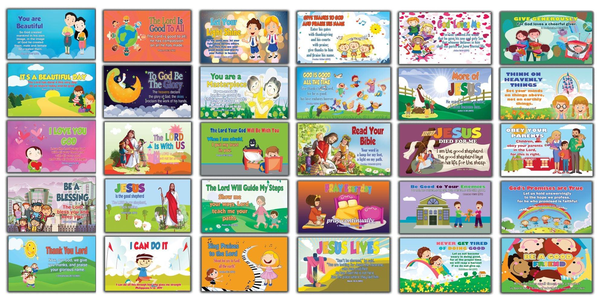 Inspirational Bible Verses Flash Cards NIV Version NIV Flashcards (30 cards x 2 set ) - Effective Illustrations for Kids