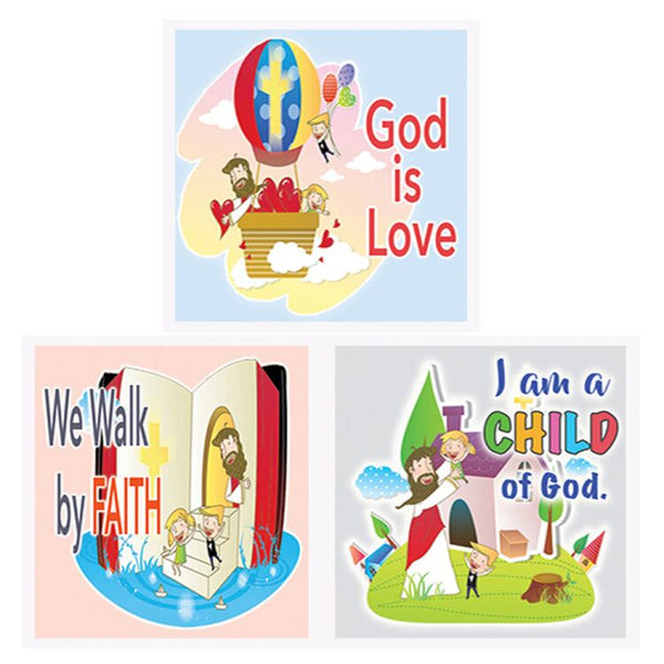 Children Christian God Is Love Affirmation Stickers - 5 Sheets