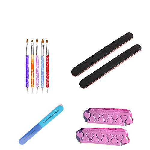Nail Brushes (5-Pack) Emery Board (2-Pack) Toe Separators (2-Pack) and Nail Buffer (1-Pack)