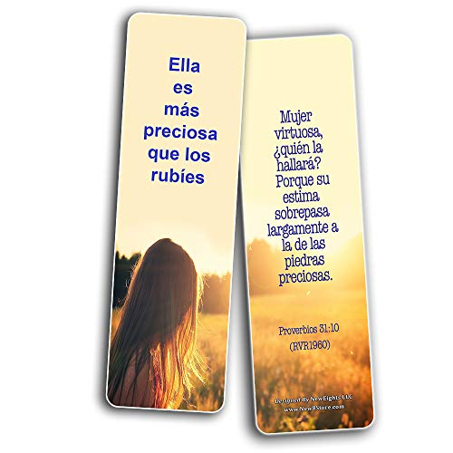 Spanish Bible Verses About Virtuous Woman Bookmarks (60 Pack) - Perfect Giveaways for Sunday School and Ministries Designed to Inspire Women