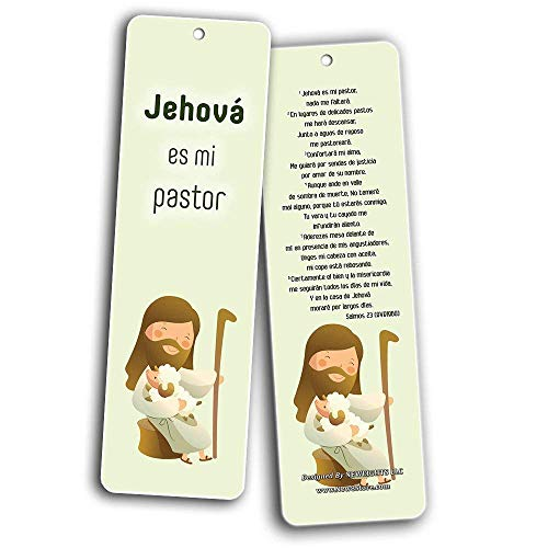 Spanish Bible Verses Bookmarks for Kids (60-Pack) - Scripture Bible Verses - Psalm 23 - Great Stocking Stuffers for Easter Baptism Thanksgiving Christmas Sunday School - Prayer Cards - War Room Decor