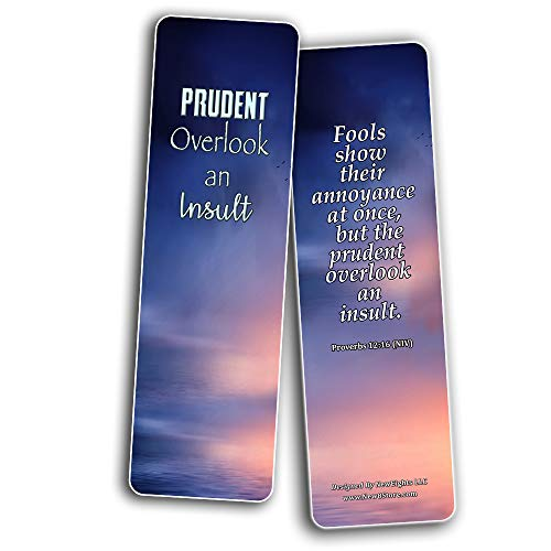 Bible Verses Bookmarks About Controlling Our Emotions (60-Pack) - VBS Sunday School Easter Baptism Thanksgiving Christmas Rewards Encouragement Gift Motivational Cards Scriptures