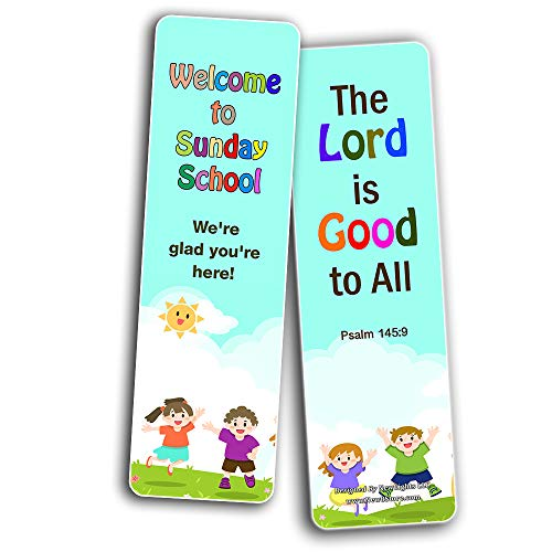 Welcome to Sunday School Bookmarks Cards Series 1 (30-Pack) - Handy Memory Verses for Kids Perfect for Children?s Ministries and Sunday Schools
