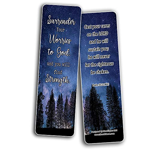 Trusting God And Not Worrying Religious Christian Bookmarks (60-Pack) - Perfect Giftaway for Sunday School and Ministries