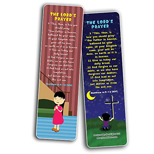 The Lord's Prayer Bible Bookmarks for Kids (30-Pack) - Stocking Stuffers for Boys Girls - Children Ministry Bible Study Church Supplies Teacher Classroom Incentives Gift