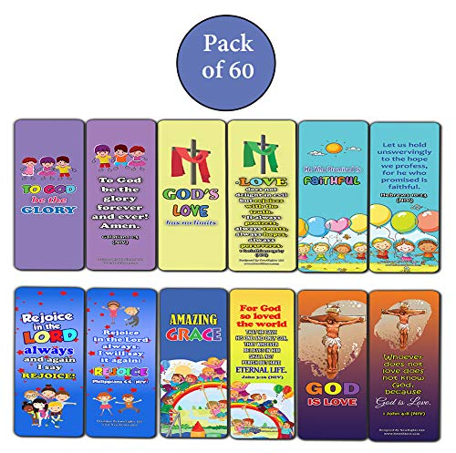 Amazing Grace Bible Bookmarks for Kids Boys Girls (60-Pack) - Easter Basket Stuffers Sunday School Children Ministries VBS Vacation Bible School