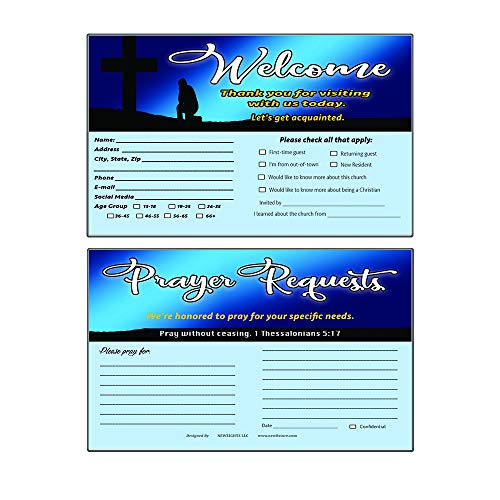 Church Visitor Card and Prayer Request Card Set A