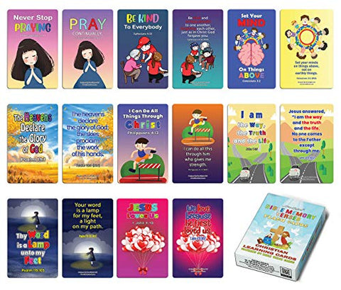 Christian Learning Cards - Bible Memory Verses Flash Cards (1-Deck)