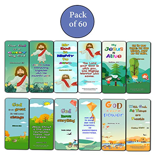 Bible Bookmarks for Kids - God is Great (60 Pack) - Perfect Gift away for Sunday School and Ministries - VBS Sunday School Easter Baptism Thanksgiving Christmas Rewards Encouragement Motivational Gift