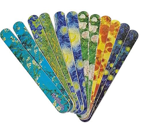 New8Beauty Emery Board Van Gogh Famous Art Starry Night Sunflowers - Stocking Stuffers Gifts for Her Women Mom Girls Teens - Nail Salon Supplies