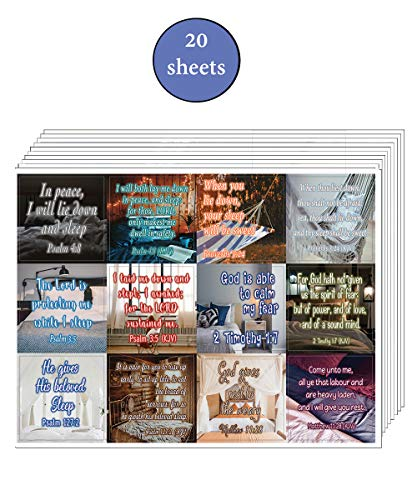 Bible Verses to Help You Sleep Stickers (20-Sheet) - Great Giftaway Stickers for Ministries