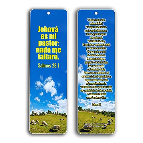 Spanish Bookmarks Salmo 23 (60-Pack) - Psalm 23 The Lord is My Shepherd Espa¤ol Prayer Cards - Religious Christian Gift to Encourage Men Women Teens Children - War Room Decor - Stocking Stuffers